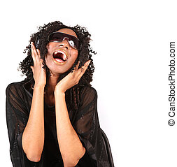 mulher, cantando, enquanto, escutar música, ligado, fones