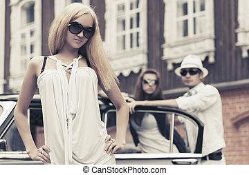 mulher, car, jovem, logo, moda, retro, loura, vestido branco
