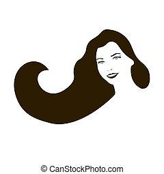 mulher, cara longa, pretas, hair., sorrindo