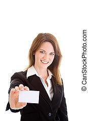 mulher, card., negócio, isolado, experiência., segurando, caucasian branco, saída
