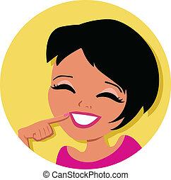 mulher, caricatura, ícone