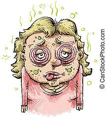 mulher, caricatura, doente