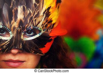 mulher, carnaval, coloridos, máscara, jovem, rosto, luminoso, pena