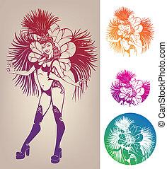 mulher, carnaval, jovem, linework, traje, bonito, tinta,...