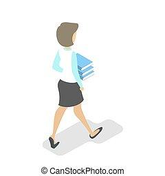 mulher, carregar, passeio, livro, livros, pile.