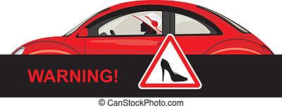 mulher carro, dirigindo, vermelho