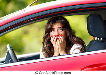 mulher carro, jovem, bonito, vermelho