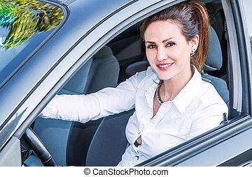 mulher carro, seu, feliz, novo