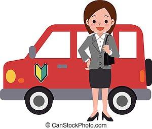 mulher carro, vermelho