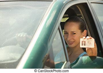 mulher, carta de condução, segurando