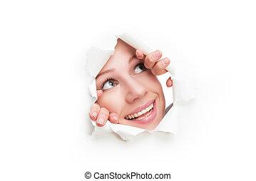 mulher, cartaz, rasgado, rosto, papel, peeking, através, buraco, branca