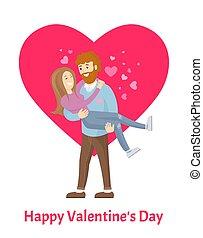mulher, cartaz, valentines, homem, barba, dia, feliz
