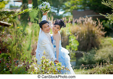 mulher, casório, asiático, paleto