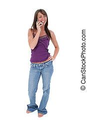 mulher, cellphone