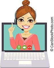 mulher, centro chamada, online