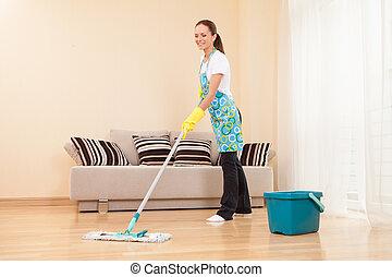 mulher, chão, quarto, jovem, cleaning., housework, atraente...