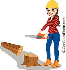 mulher, chainsaw