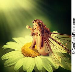 mulher, chamomile, sentar, flor, fada, asas