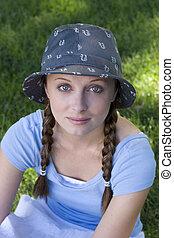 mulher, chapéu