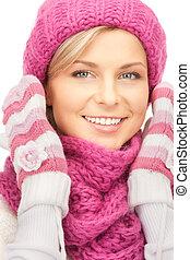 mulher, chapéu, inverno, bonito