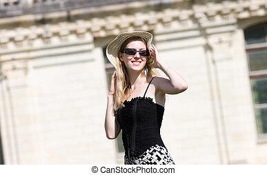 mulher, chapéu, jovem, feliz