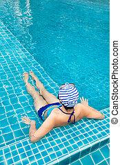 mulher, chapéu, piscina, natação