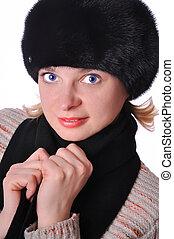 mulher, chapéu preto, bonito, pele