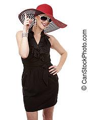 mulher, chapéu, vermelho