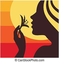 mulher, cheirando, flor