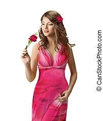 mulher, cheirando, rosa, flor, senhora, primavera, retrato, bonito, menina