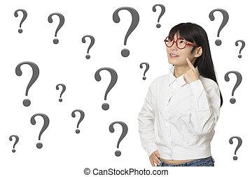 mulher, chinês, isolado, americano, fundo, retrato, branca