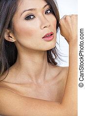 mulher, chinês, pelado, poderoso, menina asiática, forte