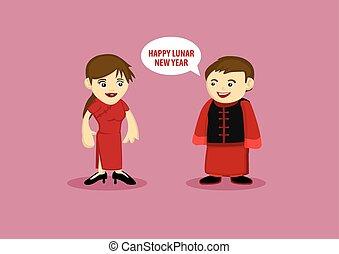 mulher, chinês, tradicional, lunar, durante, ano, homem novo, traje