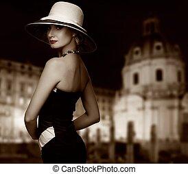 mulher, cidade,  retro, contra, noturna