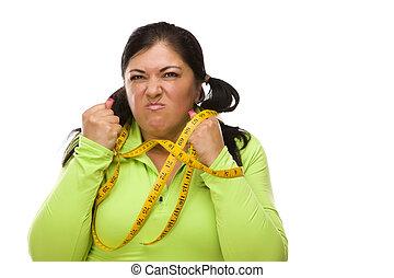 mulher, cima, amarrada, hispânico, medida fita, frustrado