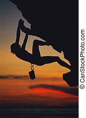 mulher, cima, jovem, rosto, escalar rocha