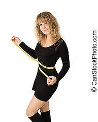 mulher, cintura, vestido preto