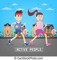 mulher, city., pessoas., runners., ilustração, executando, vetorial, através, ativo, homem