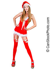 mulher, claus, santa, natal, roupas vermelhas