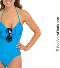 mulher closeup, óculos de sol, jovem, swimsuit