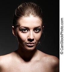 mulher closeup, beleza, excitado, retrato, bonito