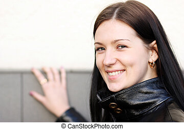 mulher closeup, feliz, jovem, retrato