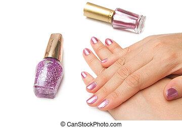 mulher closeup, mãos, polido, jovem, manicure, manicure, cor...
