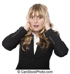 mulher, cobertura, dela, orelhas, com, um, chocado,...