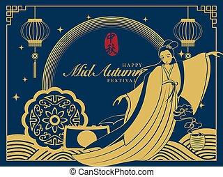 mulher, coelho, legend., estilo, meio, cute, tradução, chinês, retro, mercado de zurique, palavra, bonito, :, festival, chang, outono