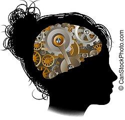 mulher, cogs, máquina, cérebro, engrenagens, funcionamentos
