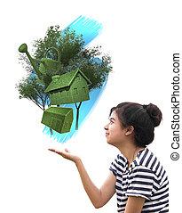 mulher, coisas, eco, conceito, segurando, sustentável
