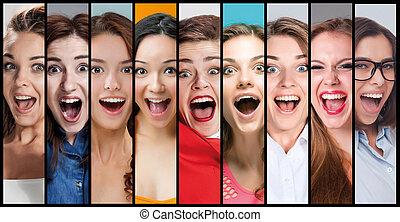 mulher, colagem, jovem, rosto, expressões, sorrindo