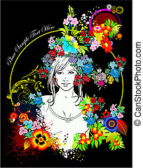 mulher, colorido, floral, vetorial, silhouette., illustration.