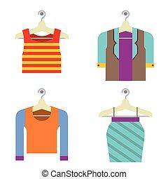mulher, coloridos, hanger., roupas